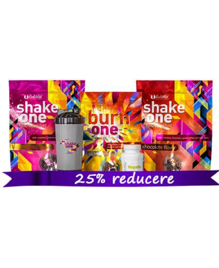 Pachet One Diet+Nopalin+Shaker Negru (2 Shake One/1 Burn One/1 Nopalin/1 Shaker negru)-Calivita