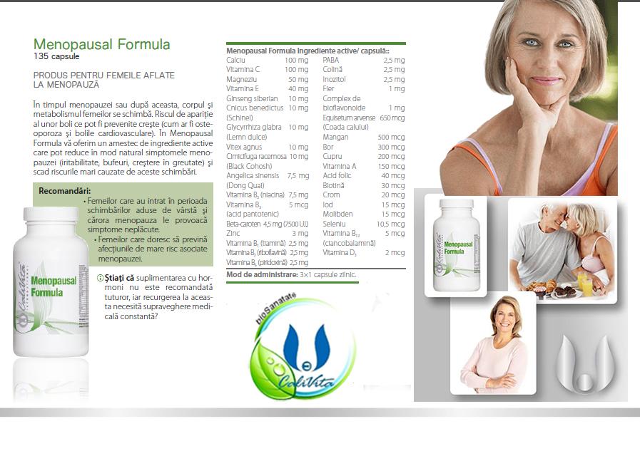 prospectul produsului menopausal formula calivita